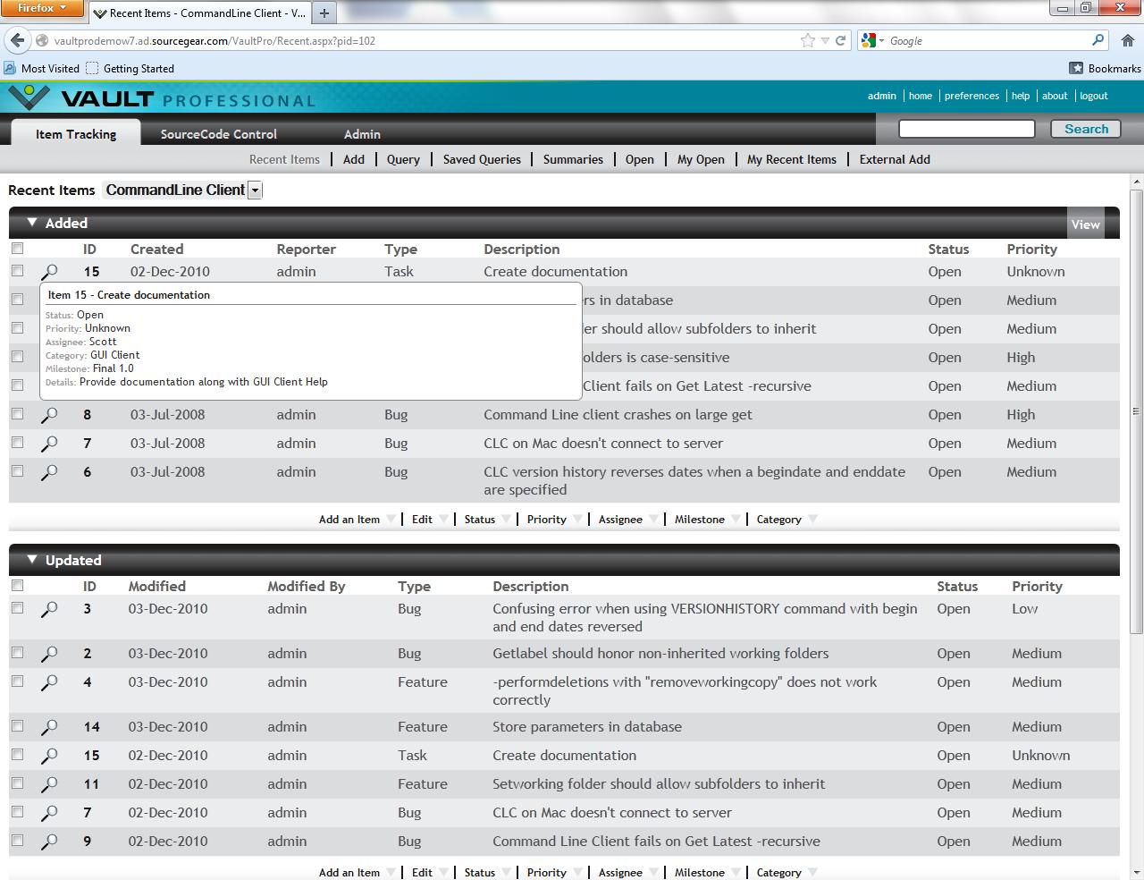 SourceGear Vault Pro screenshot